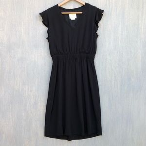 Kate Spade Frill dress black fluid crepe 8